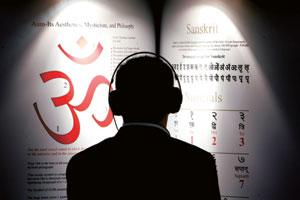 Chord struck: A file photo of a man listening to Sanskrit at the Frankfurt Book Fair.