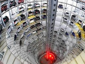 Speedbreaker: Volkswagen cars are stored in the Car Towers at the Autostadt in Wolfsburg, Germany. Car sales in that country fell 8.2% in the first 11  months of 2007