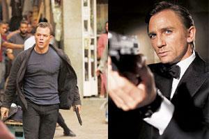 Left, right: Bourne (left) and Bond have a very different political agendas.