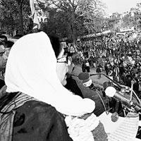 Last rallying call: Former Pakistan prime minister Benazir Bhutto gets ready to address her supporters at her last public rally in Rawalpindi. She was killed minutes after she drove away, aides said.