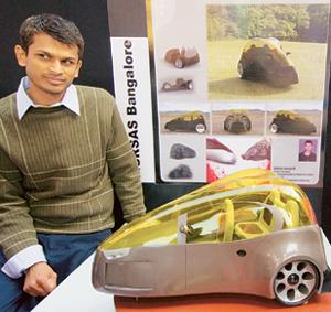 A model of the car designed by Brijesh Kumar displayed at the 9th Auto Expo in New Delhi