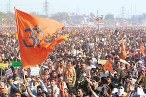 Show of sentiment: A 30 December photo of a protest in New Delhi organized by the Vishwa Hindu Parishad, which has been demanding that the dredging be stopped and Ram Sethu be declared a national heri