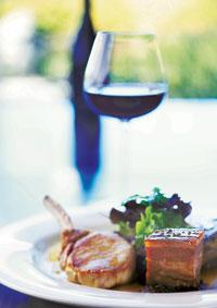 Companionship: The rib of pork goes best with a glass of wine and a great view.
