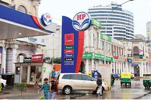 For a smoother ride: An HPCL petrol pump in New Delhi. The firm plans to enter the petrochemicals sector. Madhu Kapparath / Mint