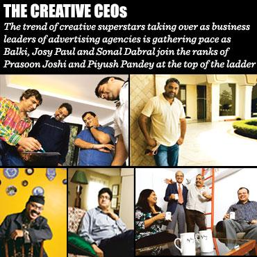 Leading the pack: (clockwise from top left) Sonal Dabral, chairman, Bates David Enterprise India, with his team (Photo: Abhijit Bhatlekar / Mint); R. Balakrishnan (Balki), chairman and CEO, Lowe Linta