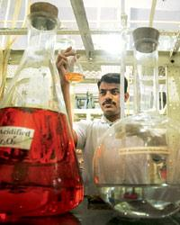 Centre of excellence: A UICT student at the lab of the institute's famed chemical engineering department