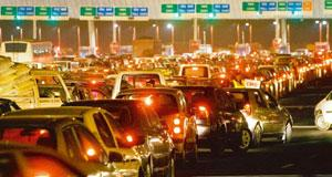 Gridlock: Rush hour traffic on the Delhi-Gurgaon expressway. (Gurinder Osan / AP)
