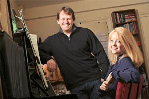Recording success: ArtistShare chief executive Brian Camelio (left) with composer Maria Schneider in New York.