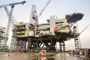 Energy security: An oil rig meant to be deployed at the Sakhalin field under construction at a South Korean shipyard.