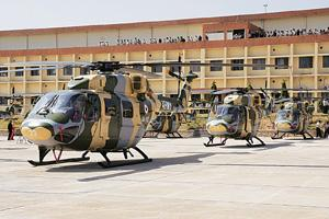 No take-off: Dhruv helicopters displayed at HAL's helicopter division in Bangalore. HAL's planned MRO unit with aircraft engine maker Pratt and Whitney has now been put on hold.