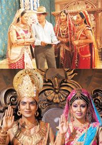 Epic moments: (top) Sagar worked on the script for six months; the lead pair, Gurmeet Choudhary and Debina Bonnerjee, make their TV debut.