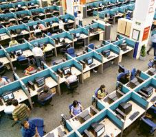 Business edge: A business processes outsourcing office in Gurgaon. According to a working paper brought out by the finance ministry, exports of software services grew by 32.7% in 2006-07. (Madhu Kappa