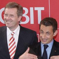 French president Nicolas Sarkozy and Lower Saxony's state governor Christian Wulff are seen during the opening ceremony of the CeBit fair in Hanover, Germany