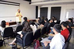 Anjum Rajabali, head of scriptwriting at Whistling Woods International, at a lecture. His students are among the first wave of trained scriptwriters India has produced in nearly 40 years