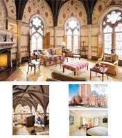 Restoration: (clockwise from top) The Lufkins added stencilled plaster walls inspired by a 19th century abbey and a Gothic-style fireplace; they tried to honour the history of the former New York Canc