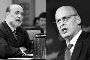 Close watch: File photos of US Federal Reserve chairman Ben Bernanke and treasury secretary Henry Paulson. The markets will keep a close eye on Bernanke and Paulson's testimony before the Senate on 3