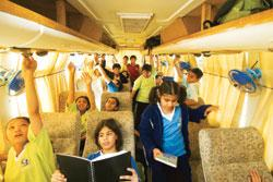 Pathways World School in Gurgaon has air conditioned buses with pneumatic doors and reclining seats for its students