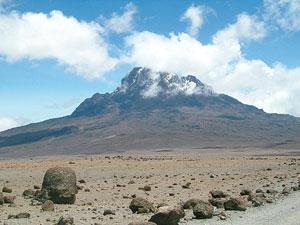 Kilimanjaro has three volcanic cones — Kibo, Mawenzi (in the picture), and Shira.