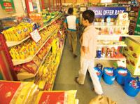 Stability plank: A Subhiksha outlet in New Delhi. Organized retail chains say they can maintain stable food prices because they have contracts in place that enable them to source products at fixed pri