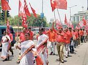 Aituc activists in a May Day march in Hyderabad