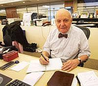 Still Around: Alan C. Greenberg, Bear Stearns' former chairman, in his Manhattan office. After 59 years, he is still trading away at Bear Stearns, the troubled Wall Street bank that is about to disapp