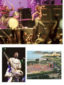 Summer blast: (clockwise from above right) The final day at Lollapalooza, 2007; Issa Bagayogo at the 2004 Rainforest Festival; Iggy Pop at the 2005 Exit Festival in Serbia.