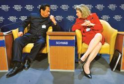 Talking business: A file photo of commerce minister Kamal Nath and US trade representative Susan Schwab. Nath, who is in the US, will be meeting Schwab on ways to take the Doha Round of talks forward.