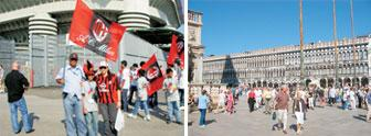 Have a ball: (left) Nirvan, Neel and Anjali wave the AC Milan flag outside the San Siro stadium before a match; (right) the San Marco Square full of tourists.
