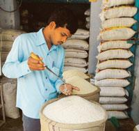 A file photograph of a trader checking the quality of rice at Miryalaguda Mandal, some 150km from Hyderabad