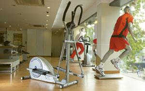 Healthy sales: A Reebok showroom in Bangalore. Reebok's gym accessories include treadmills, exercise bikes, skipping ropes, gym balls, gym belts, gloves, ankle and wrist weights, and heart rate monito