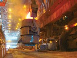 An inside view of a Steel Authority of India plant. Due to the measures taken by the govt to ease inflation, the company is valued at nine times projected earnings, 41% less than at the start of the y