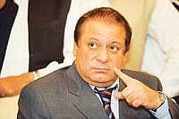 Finger-pointing: Pakistan Muslim League (Nawaz) chief Nawaz Sharif at a press conference in Islamabad on Monday. Ministers from the party will submit resignation to the prome minister today, Sharif an