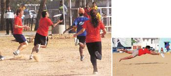 Disc jockeying: (left) Teams compete at the Ahmedabad tournament in February; (right) Chennai team captain Manu Karan dives for the frisbee.