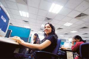 Strong optimism: Convergys employees in Gurgaon. The service sector in India is estimated to have grown at 10.4% in 2007-08.