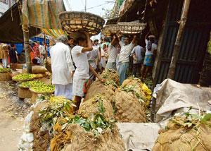 No space: A footpath in Sealdah, Kolkata, encroached by fruit vendors. (Indranil Bhoumik / Mint)