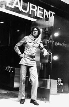 Master couturier: A file photo of Yves Saint Laurent standing outside the first of his London chain of Rive Gauche ready-to-wear boutiques on Bond Street on the opening day