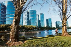 India edge: Oracle headquarters in Redwood City, California. The company has 436 partners in India: ISVs, value-added distributors, system integrators, consulting bodiess and resellers that drive 80%