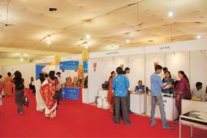 Jobs for all: About 4,000-5,000 people turned up over five days at the Modular Employable Skills fair. Photograph: Hemant Mishra