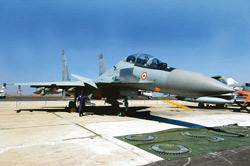 Futuristic technology:The Sukhoi 30, part of the Indian Air Force fighter jet fleet, on display at the Aero India 2007 air show in Bangalore. India and Russia are working jointly on its advanced varia