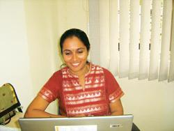 Loving it: Prema Radhakrishnan, a technical writer at The Writers Block, says flexi-timings were what attracted her to her job, but it's the challenges that keep her there.