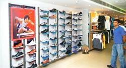 Innovative approach : A showroom displaying Nike shoes. The company is encouraging customers to custom-design their own shoes online. (Photo: Ramesh Pathan / Mint)