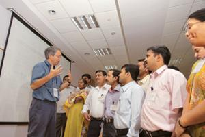 Rich mix: James Kurose, a computer science professor from the University of Massachusetts, with teachers at the Infosys campus, Mysore.