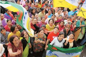 No backing down: Women activists of the Gorkha Janmukti Morcha at a protest rally in Chowrasta, Darjeeling.