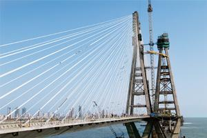 Dogged by delays: The Bandra-Worli sea link bridge in Mumbai. The project is already four years behind schedule.