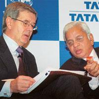 Productive alliance: (left) Philippe Varin, CEO of Corus Group, and B. Muthuraman, managing director of Tata Steel, at the announcement of Tata Steel's annual financial results