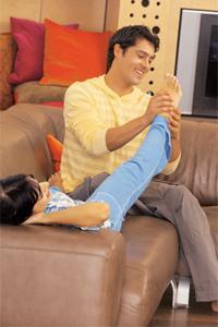 Massage with mature feet
