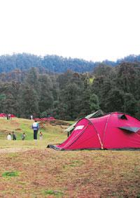 Spectacular view: Setting up camp at Chopta.