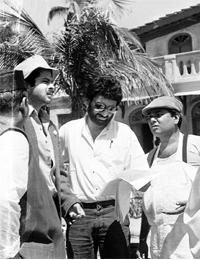 Invisible man: In Mr India, Shekhar Kapur (centre) gave India its first popular celluloid superhero.