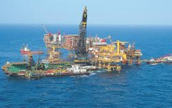 In demand: An Oil and Natural Gas Corp. oil drilling facility at Bombay High, off the coast of Mumbai. An acute shortage of deep-water oil drilling rigs has delayed the plans of India's oil and gas ex