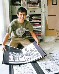 One-time investment? Satyajit Chetri, a collector of original comic-book art, at his apartment in Begumpet, Hyderabad (Photo by: P Anil Kumar/Mint)